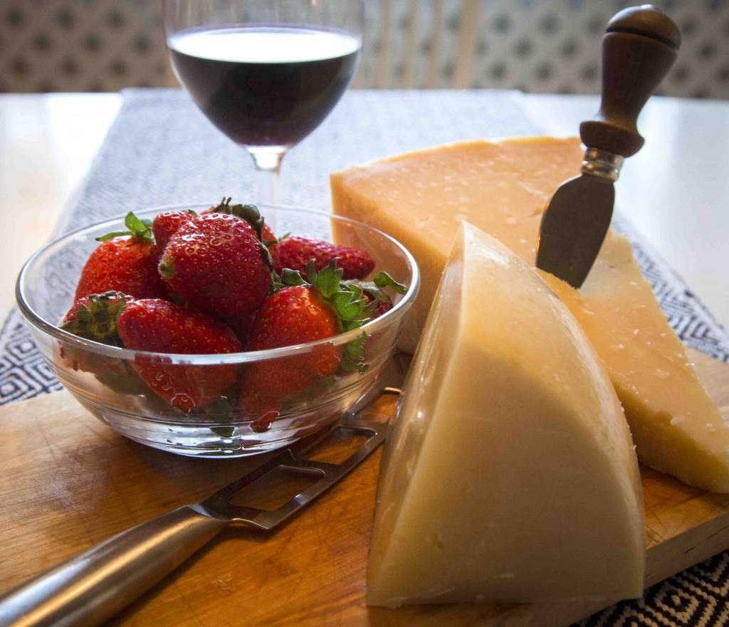 Jordgubbar, Parmesanost och Peccoriniost